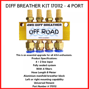 4WD Diff Breather Kits, Protect 4wd Axle, Differential, Electronic 4wd Motor System, Gearbox , Transfercase